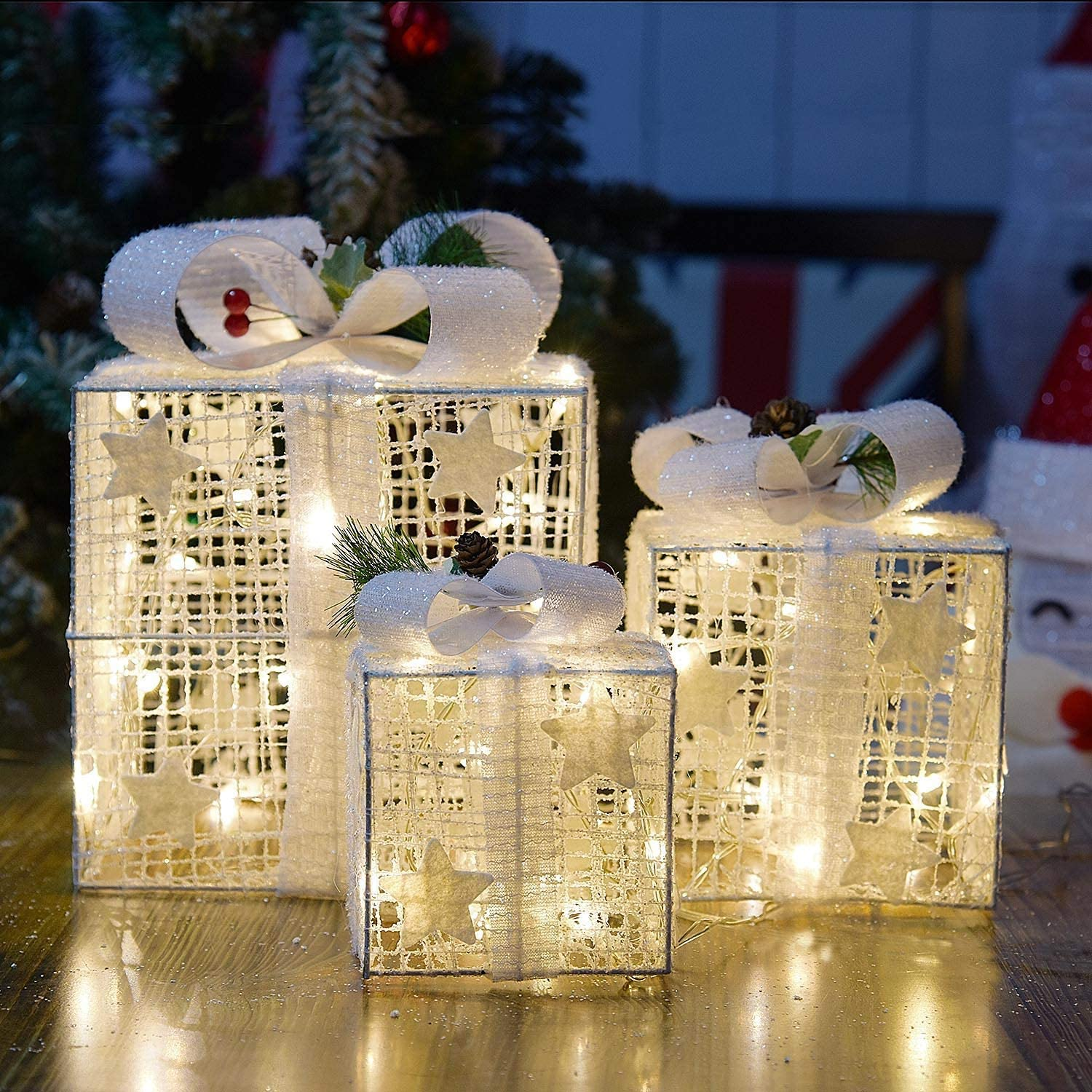 KPROE Set of 3 Christmas Lighted White Silver Gift Boxes Decor Yard Home