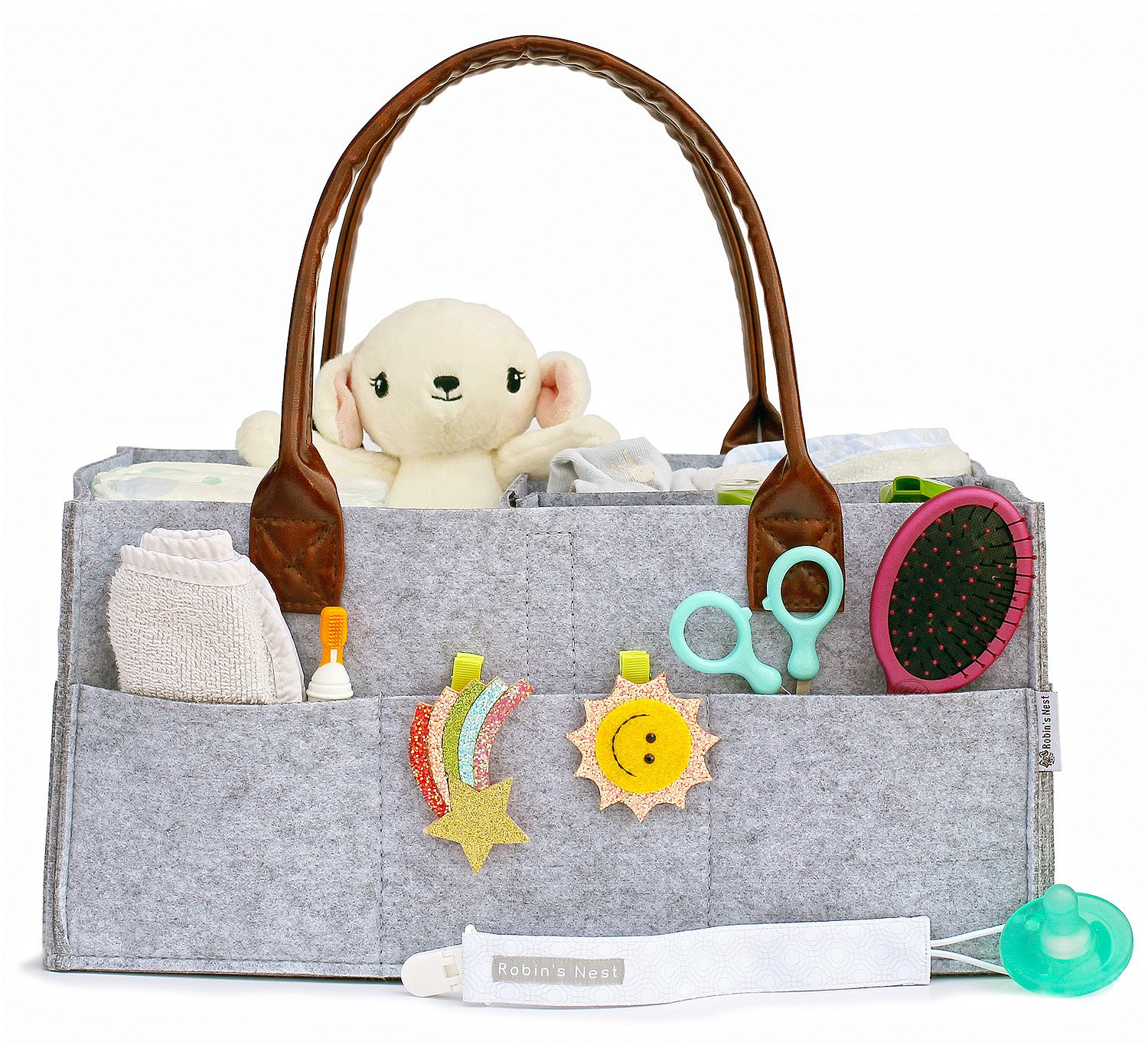 Baby Diaper Caddy & FREE Pacifier Clip | Nursery Changing Table Storage Bin | Portable Car Organizer for Diapers & Wipes | Art Supply Tote bag