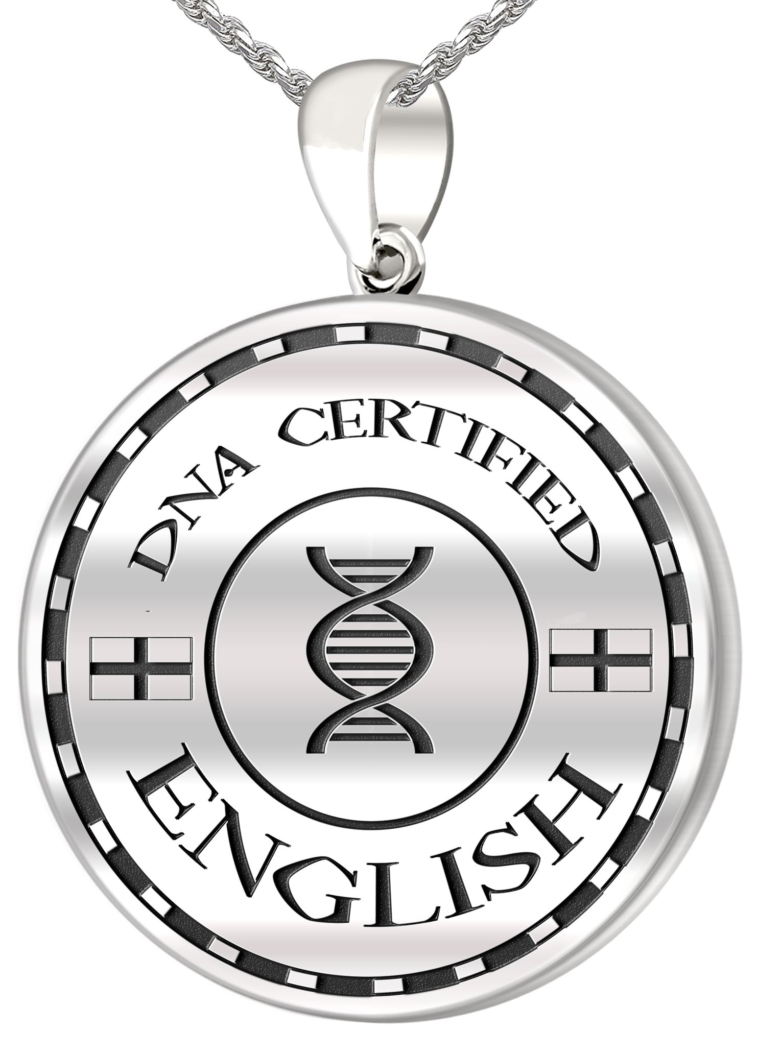 0.925 Sterling Silver 1in DNA Certified English Heritage Pendant Medal with Flag 3.3mm Rope Necklace, 20''
