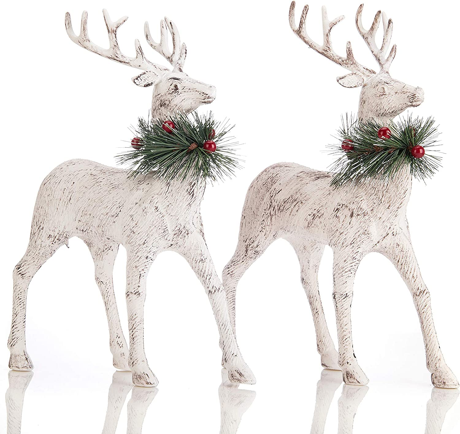 blitzlabs Christmas Reindeer Decoration Vintage Stag Deer Ornament Figurines, Freestanding Indoor Decorative for Living Room, Tabletop, Kitchen ,Mantle, Shelf ,Desk Winter Homely Decor,Set of 2
