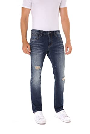 b8c86f1f3ee Indigo alpha Men's Slim Tapered Fit Blue Ripped Destroyed Distressed Faded  Stretchy Denim Jeans(8018