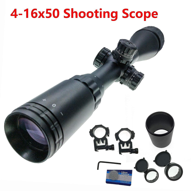 Hauska T/áctico 4-16x50 Miras de Arma Airsoft Rojo//Verde//Azul Iluminaci/ón Mil Dot Riflescope miras telescopicas para carabinas de Aire comprimido