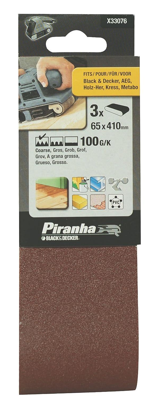 BLACK+DECKER X33076-XJ Pack de 3 hojas de lija para lijadora de banda
