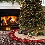 Aytai 122cm Burlap Christmas Tree gonne nero e rosso plaid Ruffle Edge Border Tree gonna per Xmas party vacanza decorazioni