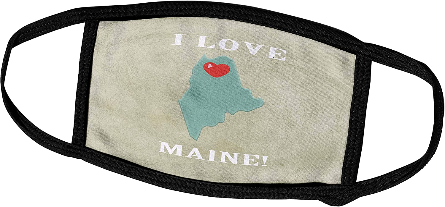 3dRose I Love Maine with a Heart on The State, Green, Red, Beige - Face Masks (fm_218322_2)