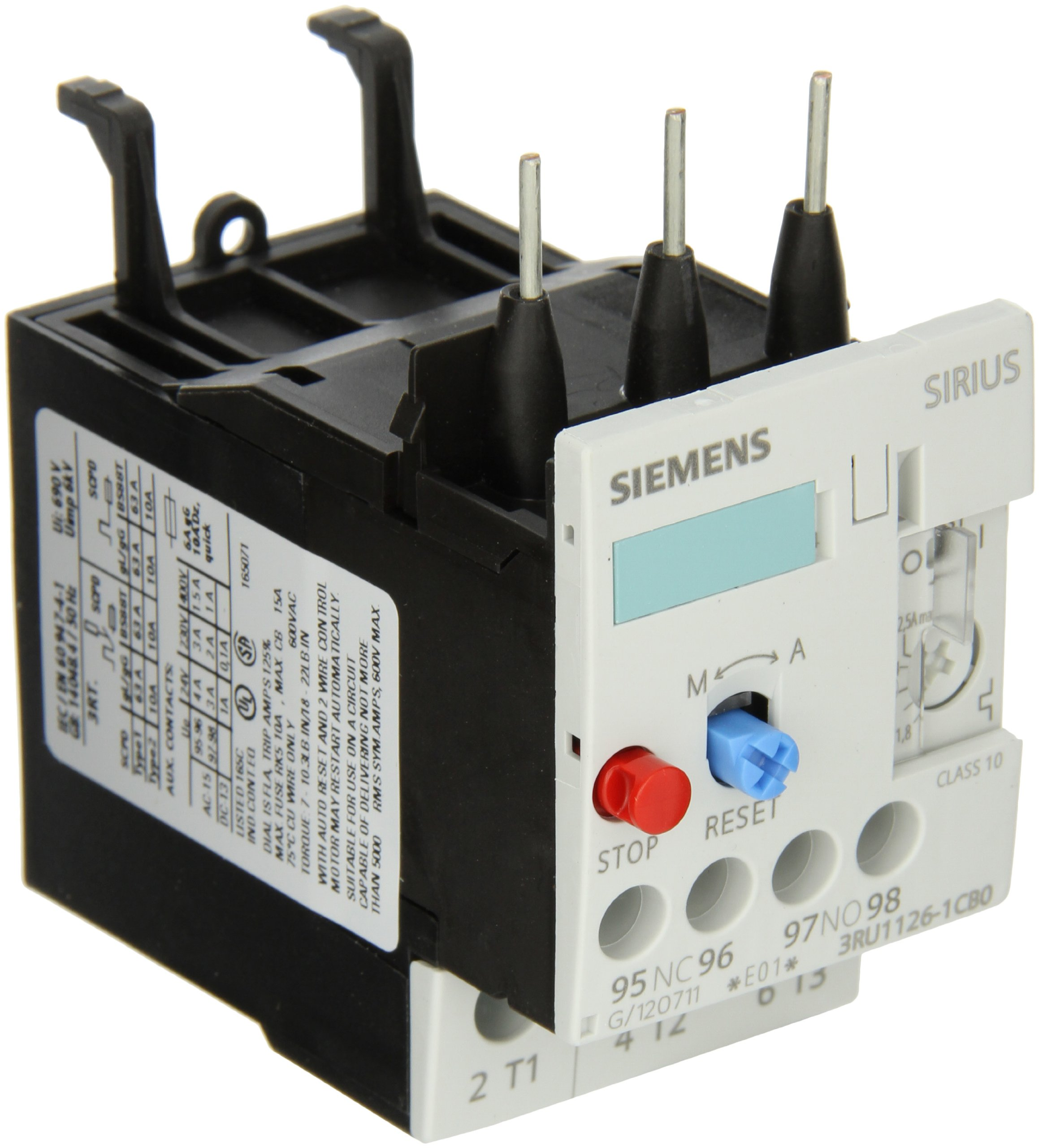 Siemens 3RU11 26-1CB0 Thermal Overload Relay, For Mounting Onto Contactor, Size S0, 1.8-2.5A Setting Range