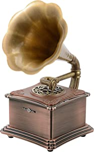 Bronze Mini Vintage Retro Classic Style Gramophone Phonograph Shape Stereo Speaker Sound System Music Box 3.5mm Audio Aux-in/Micro SD/USB Flash Drive Blue Tooth 4.2