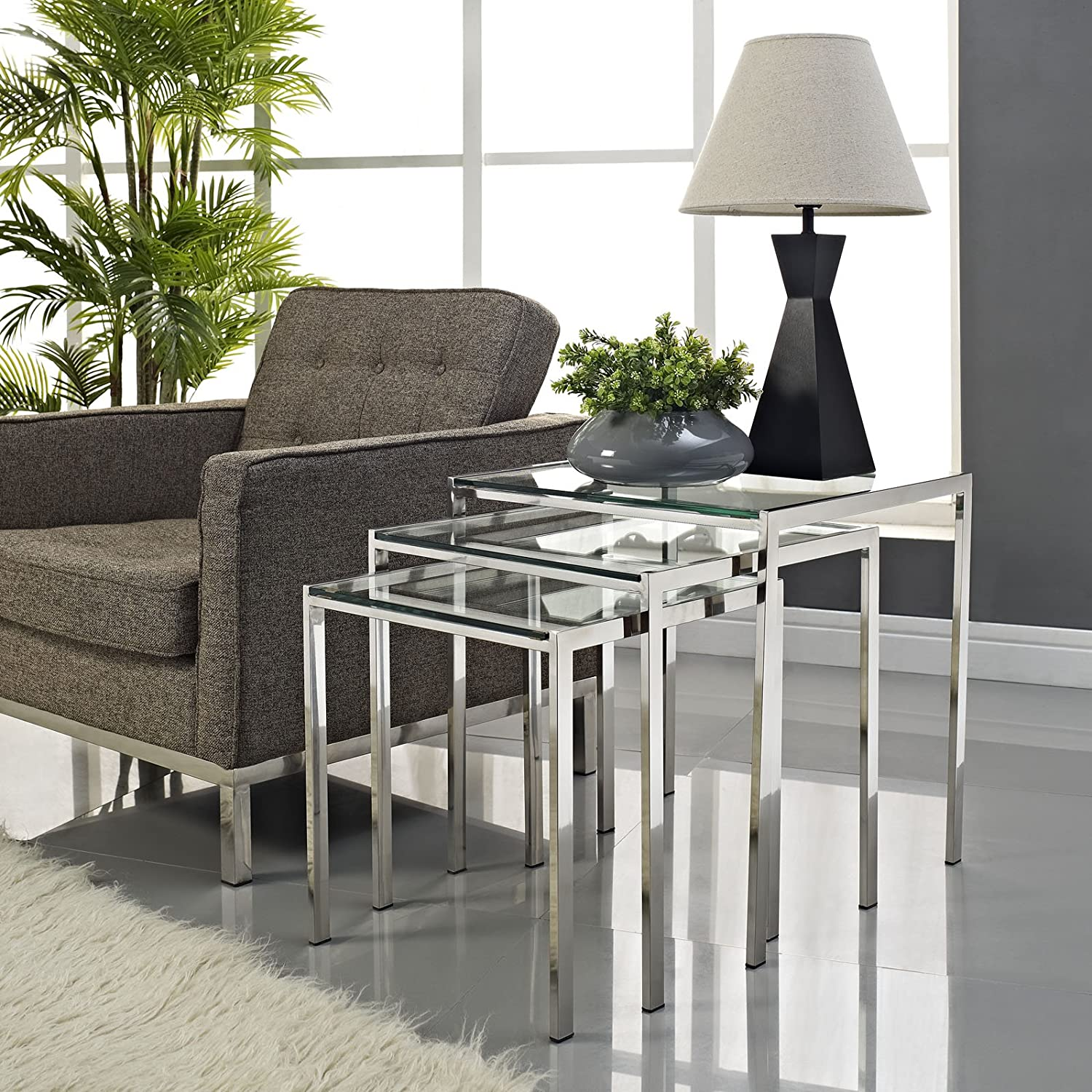 Amazon Modway Nimble Stainless Steel Nesting Table Set