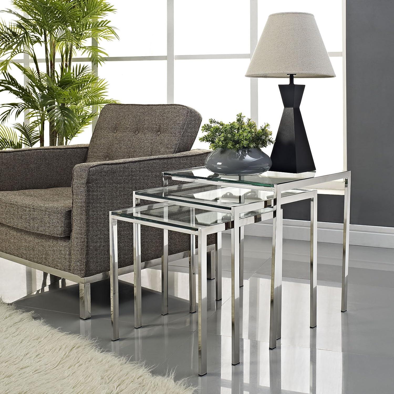 amazon com modway nimble stainless steel nesting table set