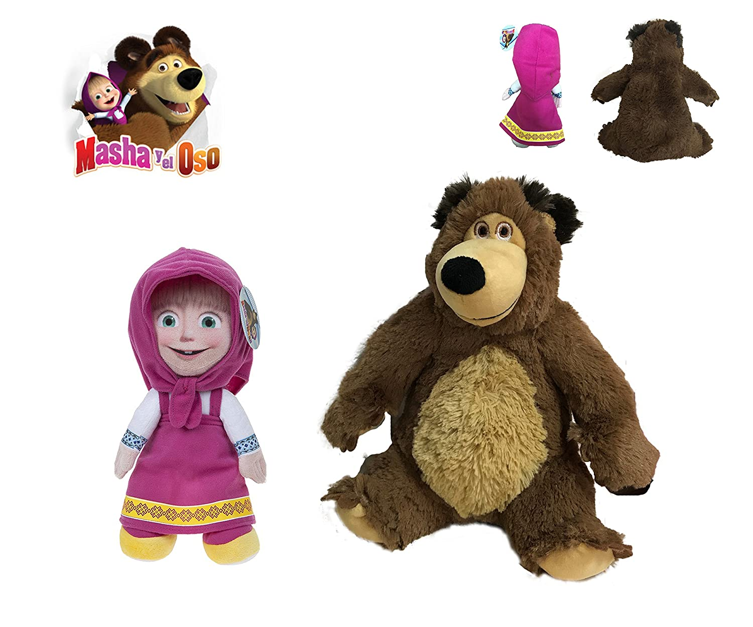 MASHA Y EL OSO - Pack 2 peluches personajes de la película Masha y el oso - El pack incluye Masha (sentada 21cm/de pie 27cm) y el Oso (sentado 23cm) - Calidad Super Soft masha and the bear
