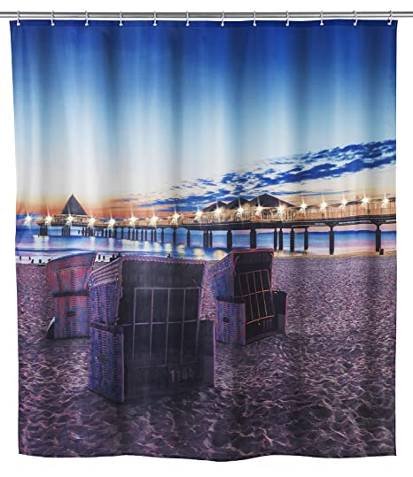 Wenko 22496100 Usedom C LED Shower Curtain With 12 Rings 180 X 200 Cm