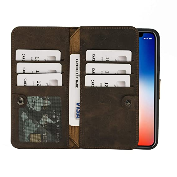 premium selection 39c7c ad533 iPhone X/XS Leather Case by Burkley, Bi-Fold Detachable Leather Wallet Case  for Apple iPhone X/XS, Magnetic Closure and Premium Snap-on   Book Style ...