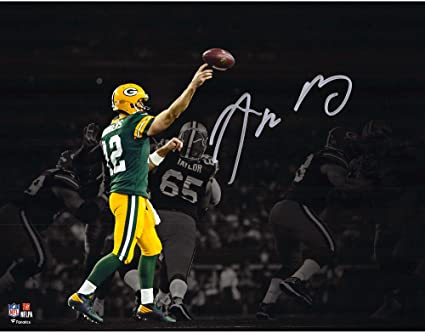 660ec74fd Aaron Rodgers Green Bay Packers Autographed 11 quot  x 14 quot  Spotlight  Green Throwing Photograph -