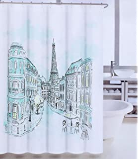 Tahari Paris Street In Color Fabric Shower Curtain With Eiffel Tower Blue Green
