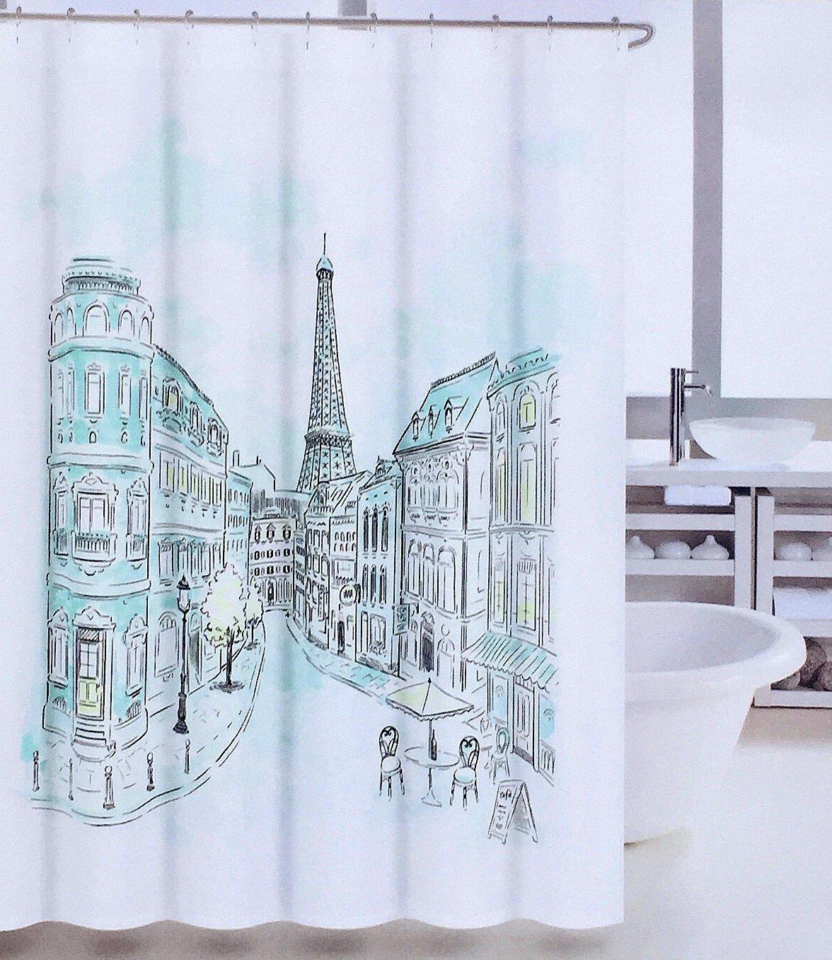 Amazon.com: Tahari Paris Street in Color Fabric Shower Curtain with ...