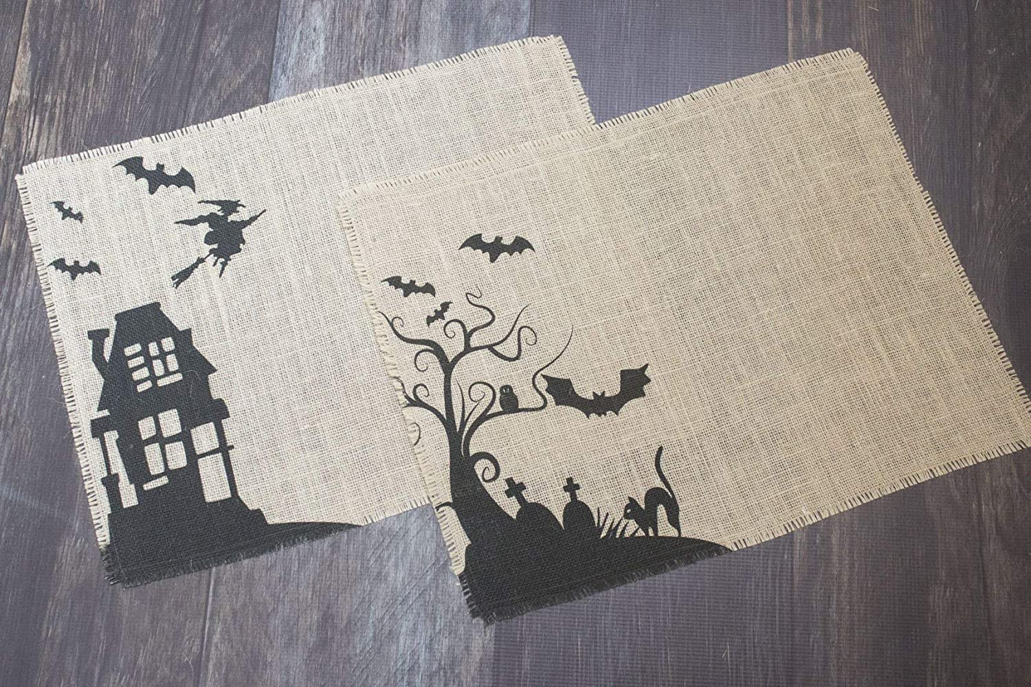 Spooky Halloween burlap placemats - set of two mats featuring bats, black cats and a flying witch
