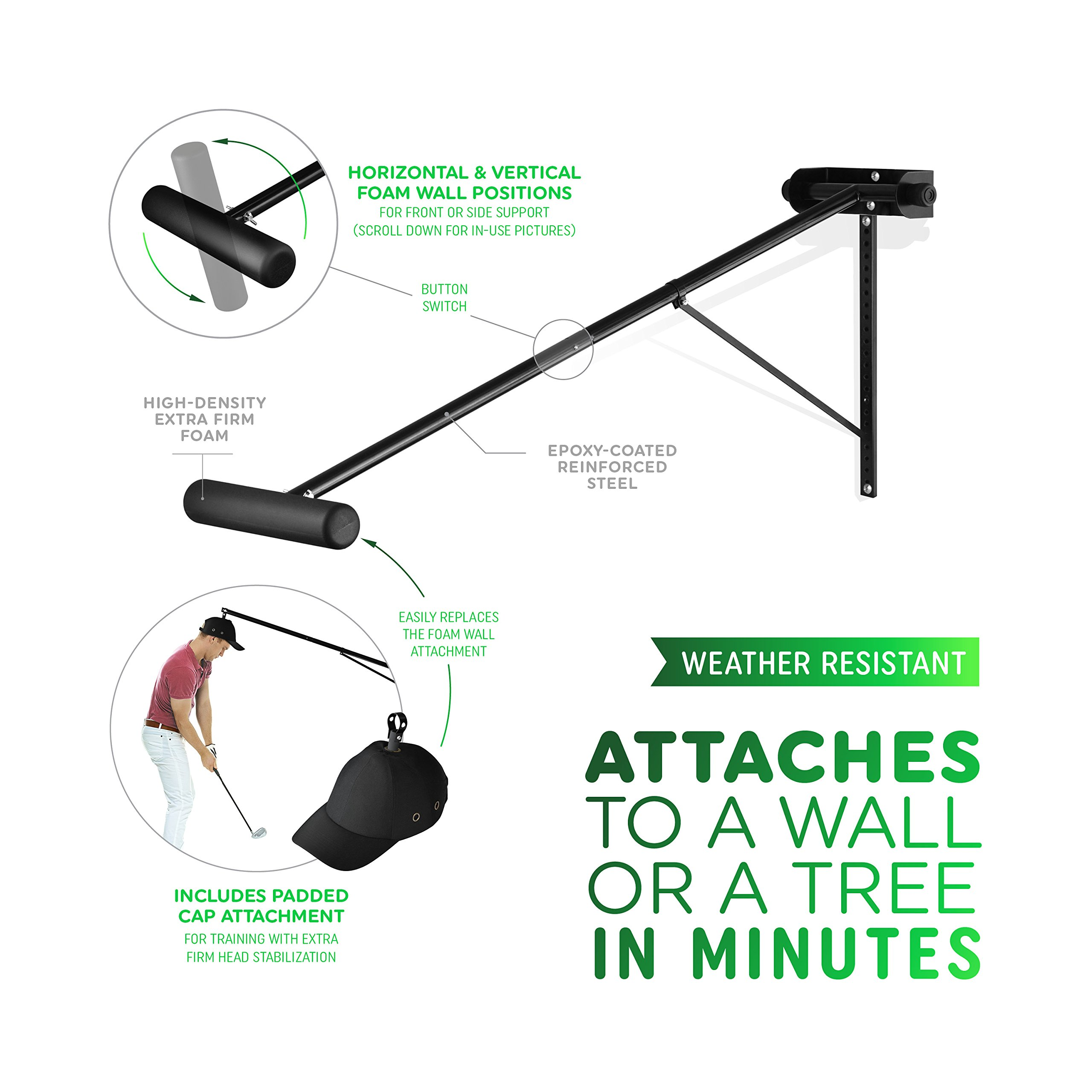 Golf Swing Trainer PRO-HEAD - Wall or Tree Golf Training Aid Equipment for All Golfers - Posture Correcting Tool - Fix and Keep a Steady Head, Maintain Spine Angle - Practice Indoor & Outdoor by PRO-HEAD (Image #2)