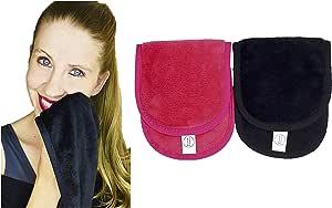 Shimmer Anna Shine Makeup Remover Reusable Microfiber Facial Cloth with Headband (Black and Pink with Headband)