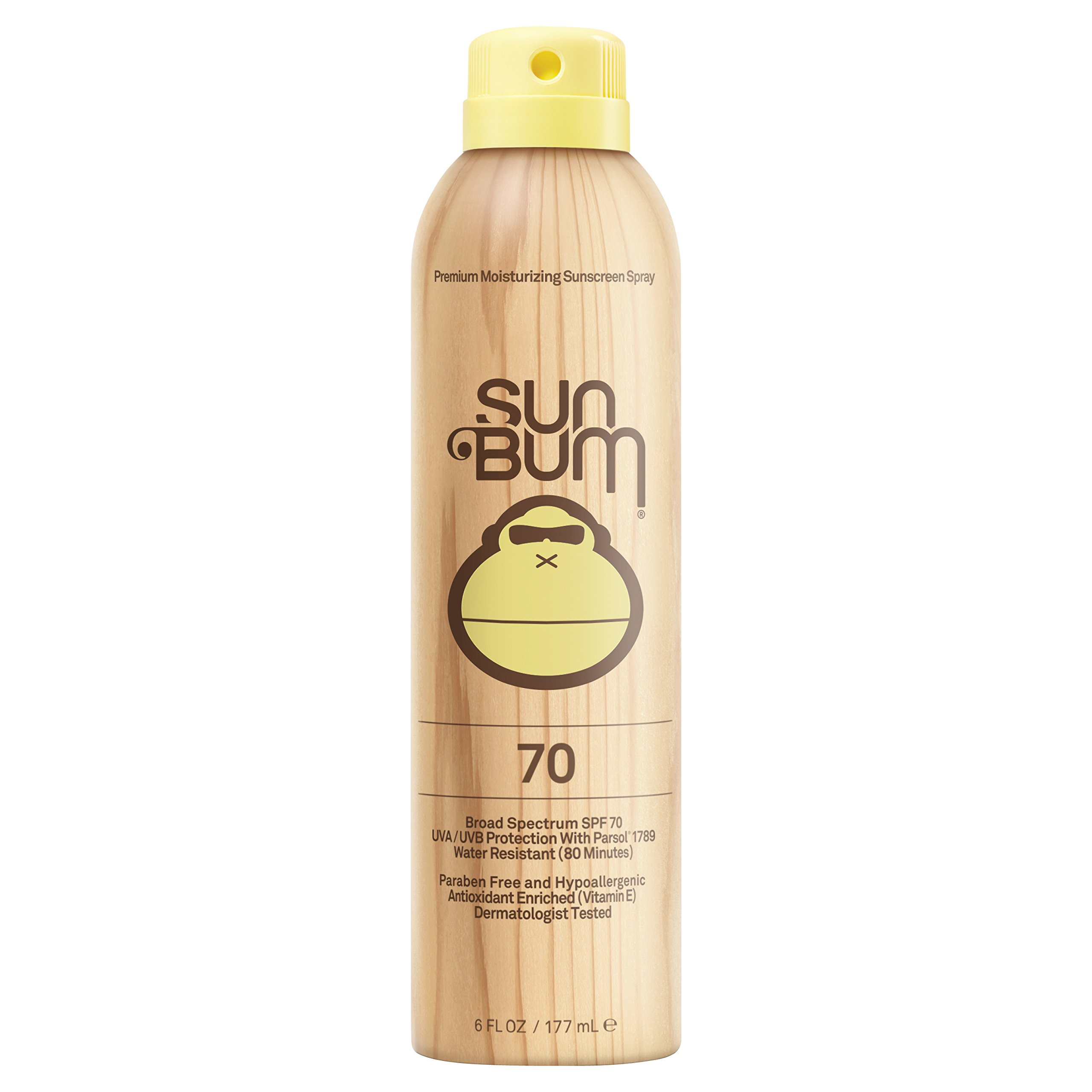 Sun Bum Original Moisturizing Sunscreen Spray, SPF 70, 6 oz Bottle, 1 Count, Broad Spectrum UVA/UVB Protection, Hypoallergenic, Paraben Free, Gluten Free