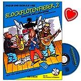 Blockflötenfieber Band 2 - Schule für Sopranblockflöte von Richard Voss mit CD, Online-Audio und bunter herzförmiger Notenklammer