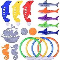 BONROB BG001 - Anillos de Buceo bajo el Agua Torpedo Tiburones Pirata Barco Caballito de mar delfín Dorado Piscina Juguetes para niños Divin Colorido