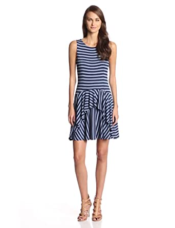 Ella moss Women's Alexa Striped Jersey Dropwaist Dress, Twilight, Medium