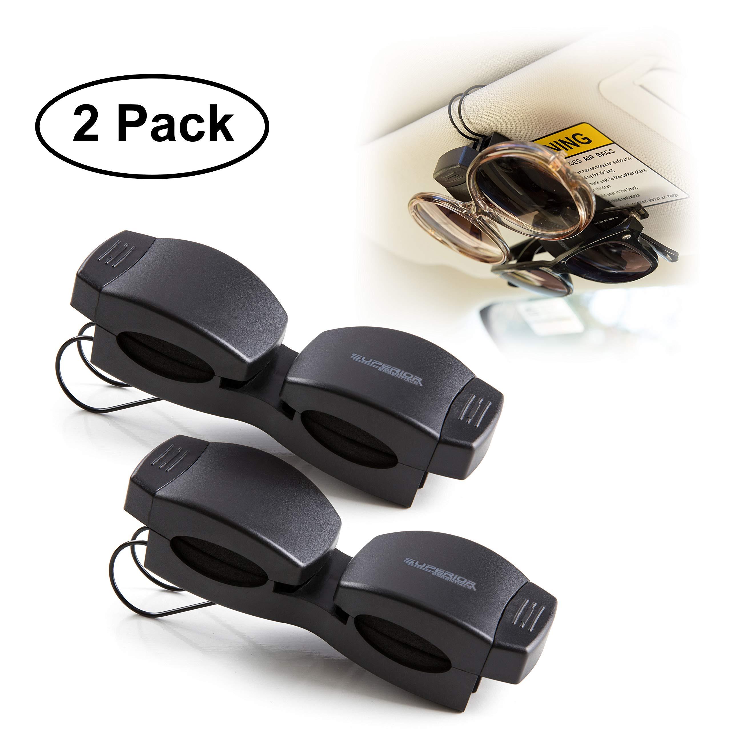 Superior Essentials Locking Double Sunglasses Holder for Sun Visor-Securely Holds Glasses & Sunglasses on Sun-Visor-Set of 2 by Superior Essentials