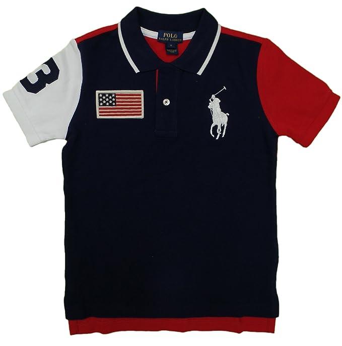 b695535eece0 Polo Ralph Lauren Boys Big Pony USA Flag Polo Shirt (L (14-16)