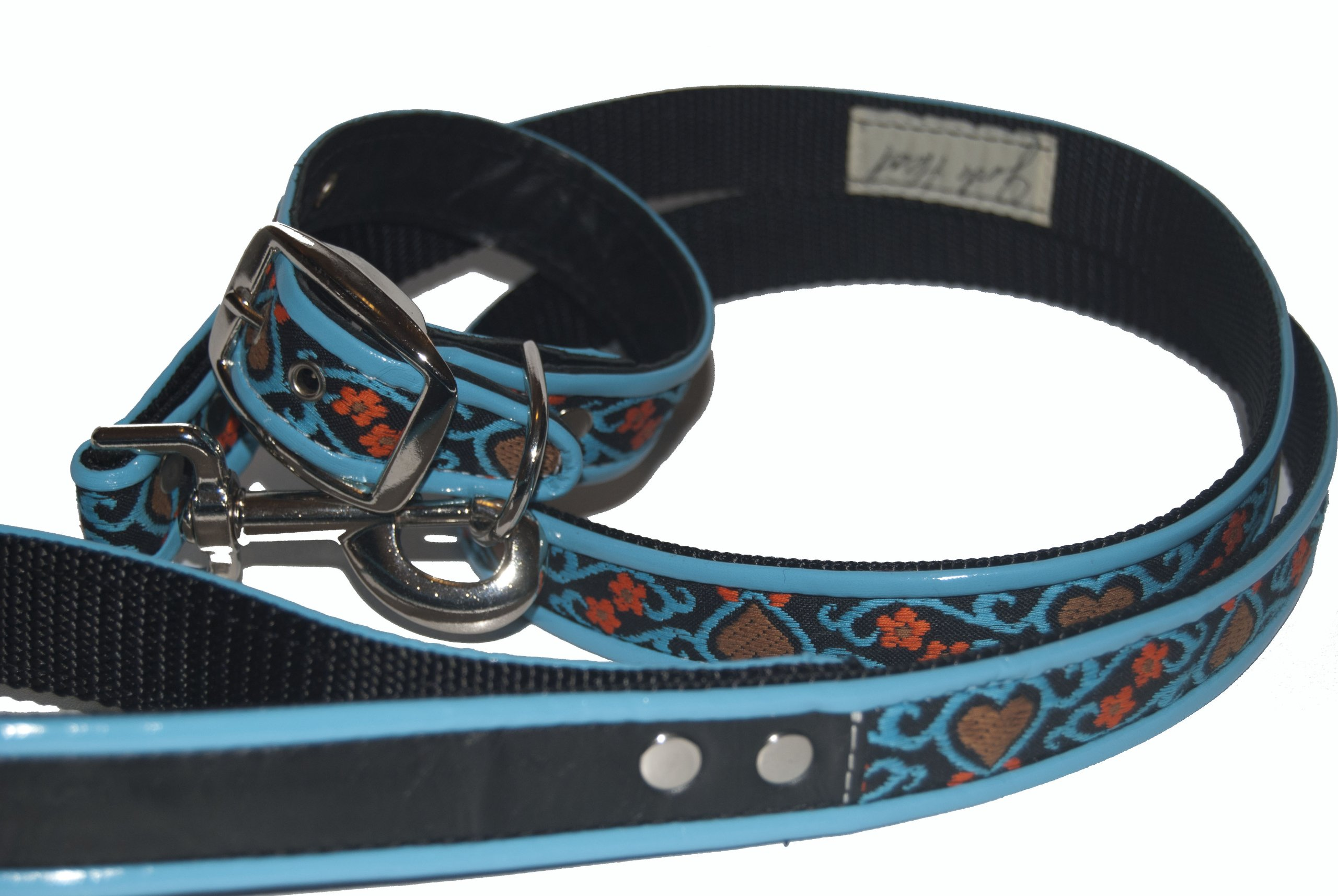 Jodi Head's RJ Cash Petwear Brocade Blue Hearts Dog Collar and Leash, Large, Black with Blue, Red and Blue Binding
