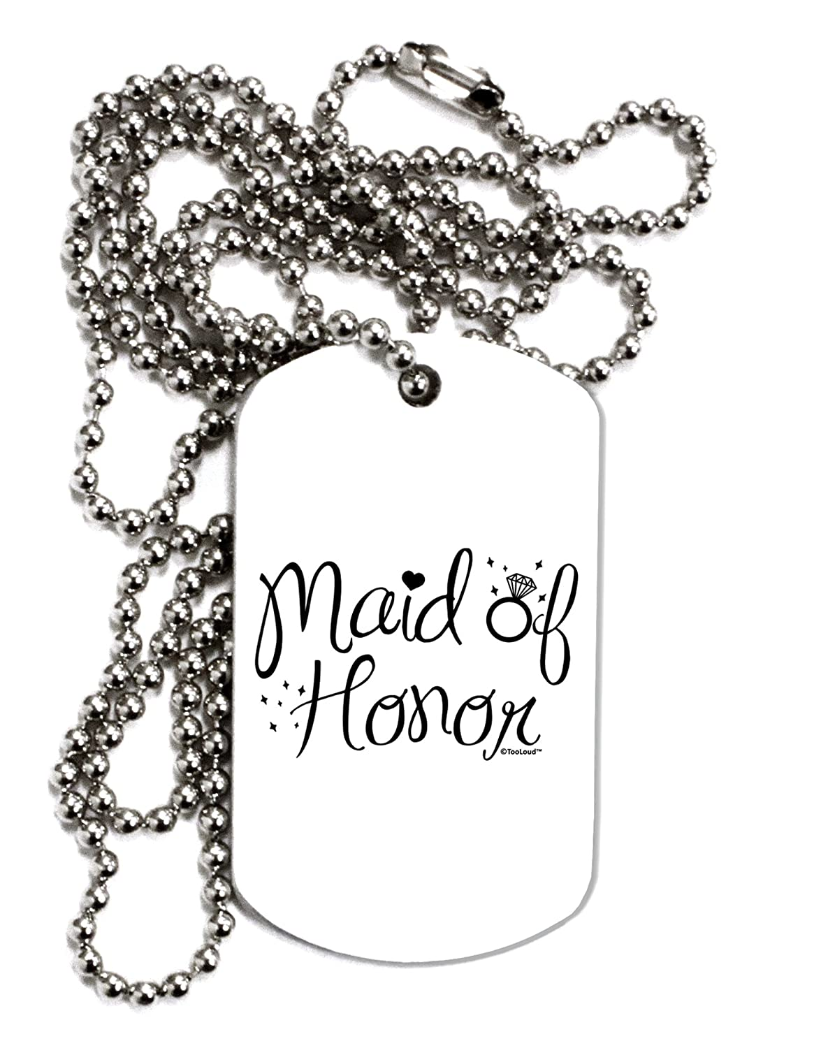 TOOLOUD Maid of Honor Diamond Ring Design Adult Dog Tag Chain Necklace