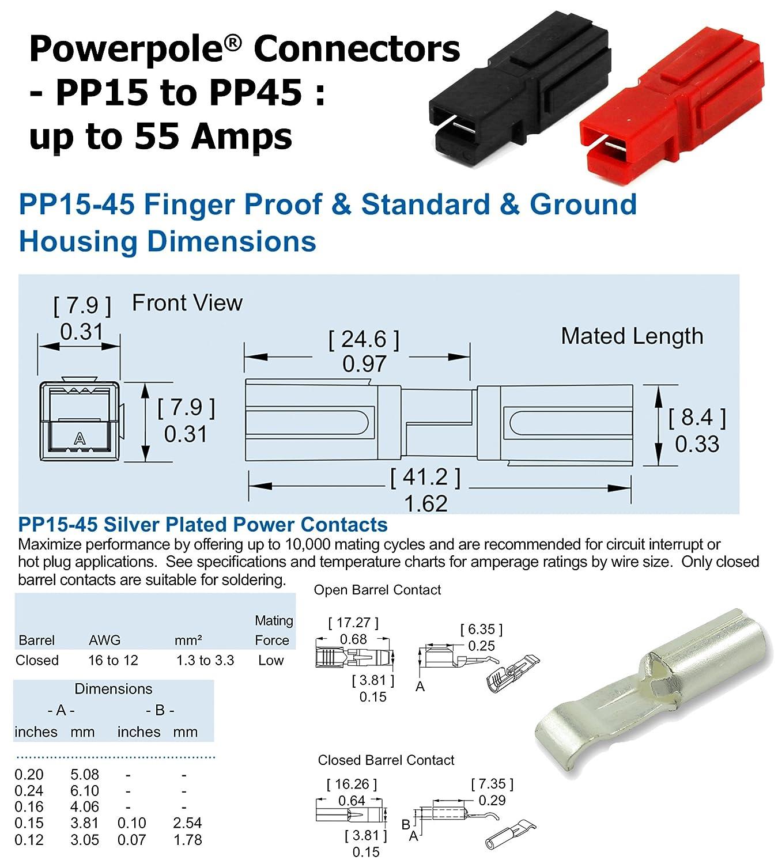 Anderson Powerpole Connectors Env/ío r/ápido de contactos 45 Amp cantidad 30 distribuidor autorizado