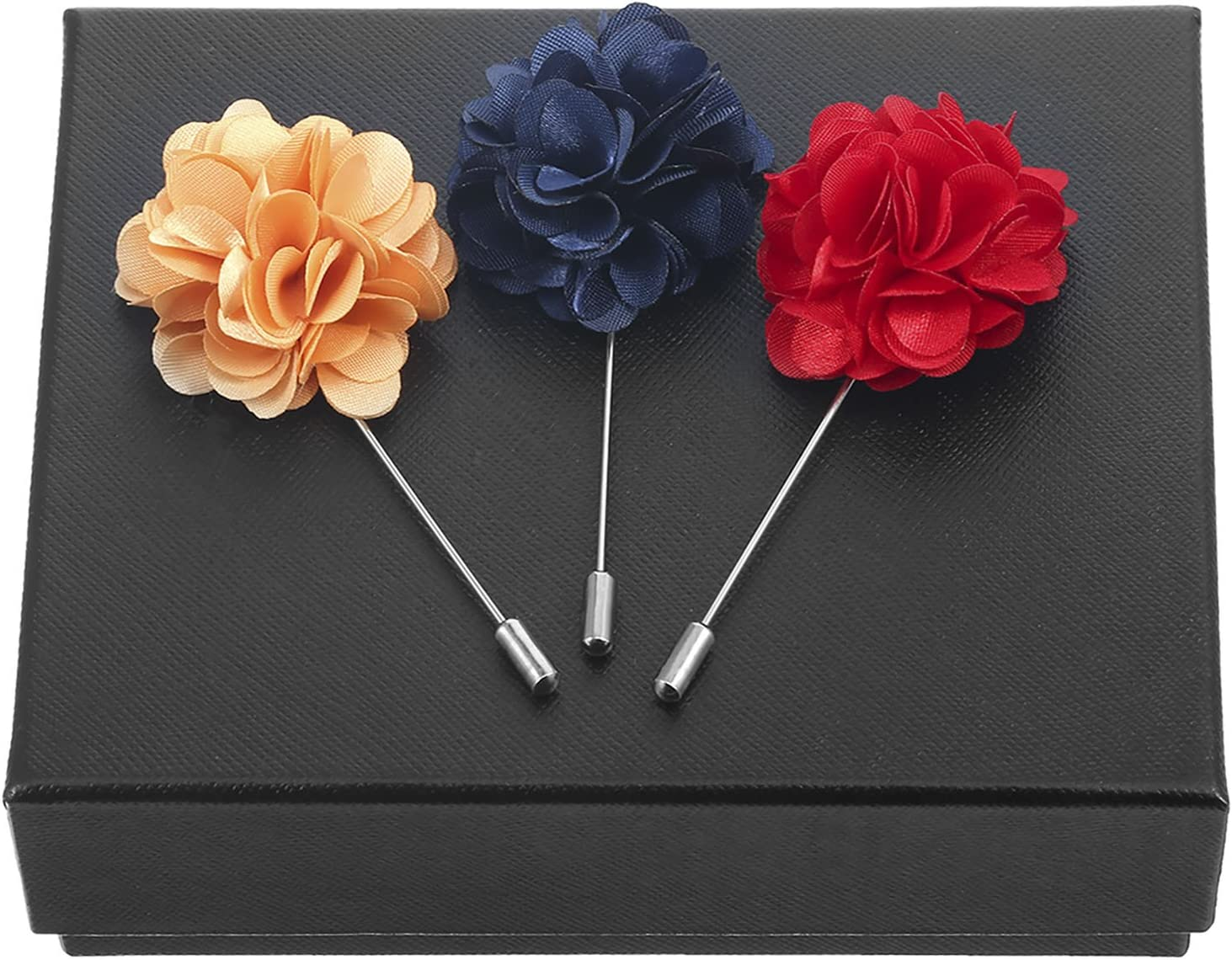 Multicolor A Pangda 15 Pieces Mens Lapel Pin Handmade Satin Flower Boutonniere Pin with Gift Box for Suit Wedding Groom