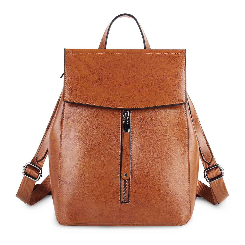 YALUXE Genuine Leather Fashion Women's Backpack for Women Handbag School Bag Shoulder Bag Tote for Women brown