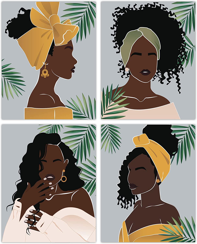 Black Woman Wall Art Decor - Set of 4 Unframed Prints (8x10 Inch) Black Art Paintings for Wall Women African