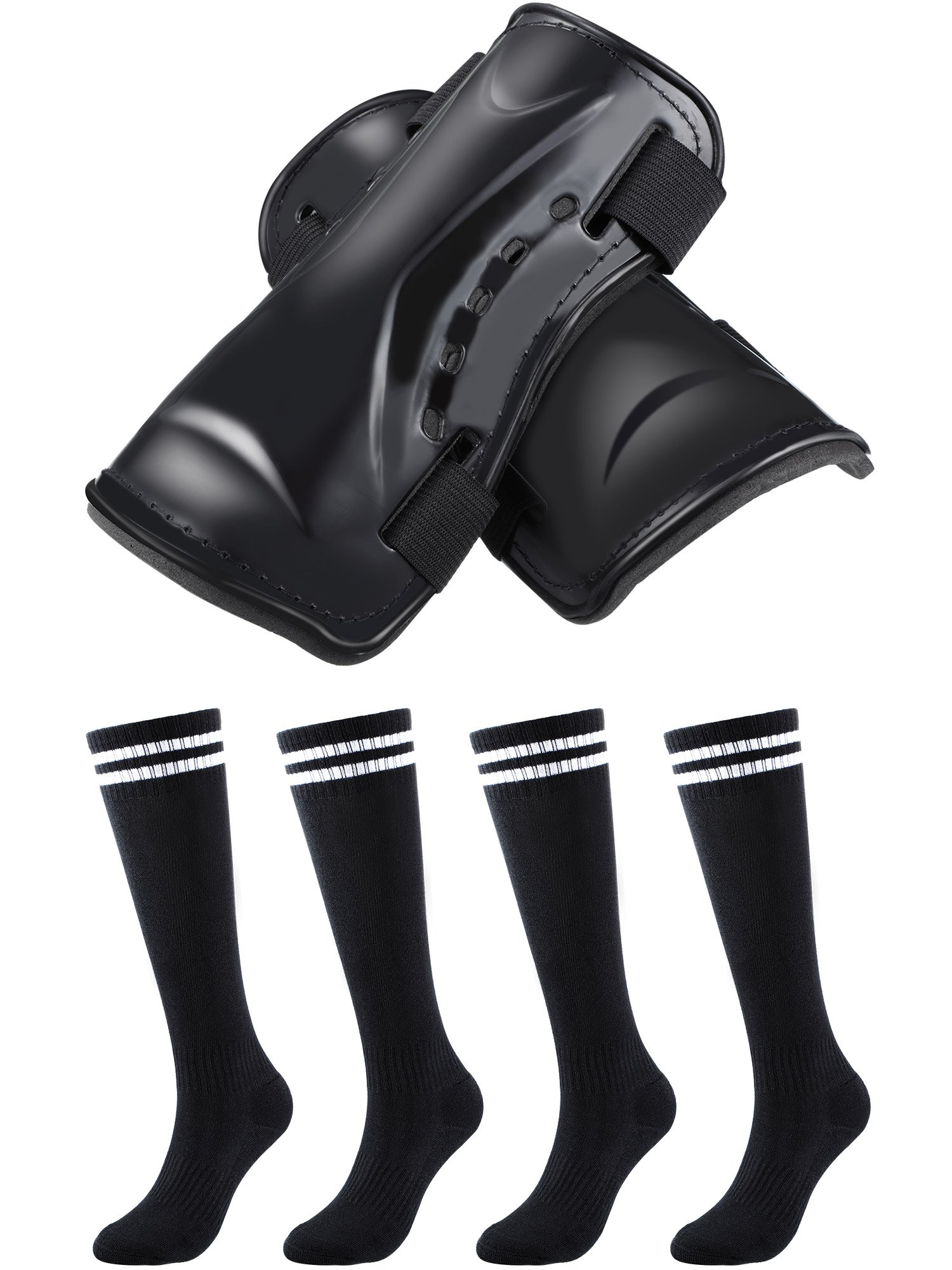 Maxdot 1 Pair Soccer Shin Guards Protective Gear and 2 Pairs Knee High Soccer Socks for Kids Teenagers Boys Girls, Black