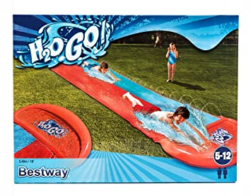 Garden Games 539 Spiel- & Gartenhäuser Renn-Wasserrutsche mit zwei aufblasbaren Boogie Boards Spielzeug für draußen