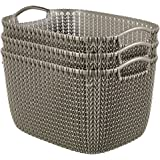 Curver by Keter KNIT Style Large Storage Baskets Resin Plastic Rectangular 3-Piece Set, Harvest Brown