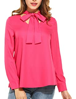 63774ad3 Zeagoo Women's Long Sleeve Button Down Lace Shirt Bow Knot Collar Blouse  See Through Tops