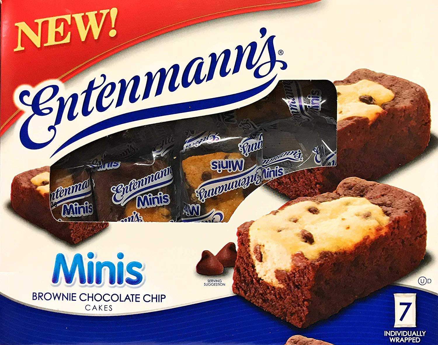 Entenmann's | Minis Brownie Chocolate Chip Cakes | Delicious | Yummy | Tasty | 7ct Individually wrapped |12.25 OZ (347g) | 1 Box |