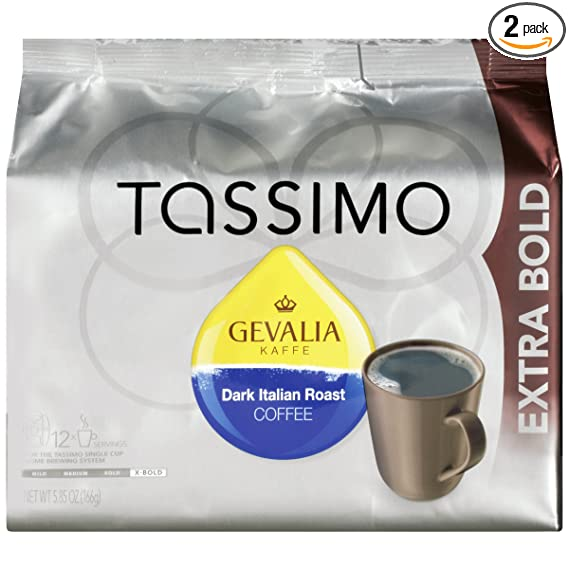 Tassimo GEVALIA Dark Italian Roast Coffee, Extra Bold, 12 ...