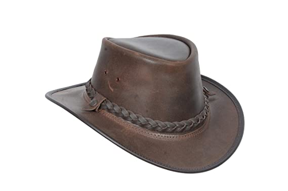 bc17c903ae24e Original Australian Bush Leather Hat Brown Real Leather Cowboy Style Leather  Hat  Amazon.co.uk  Clothing