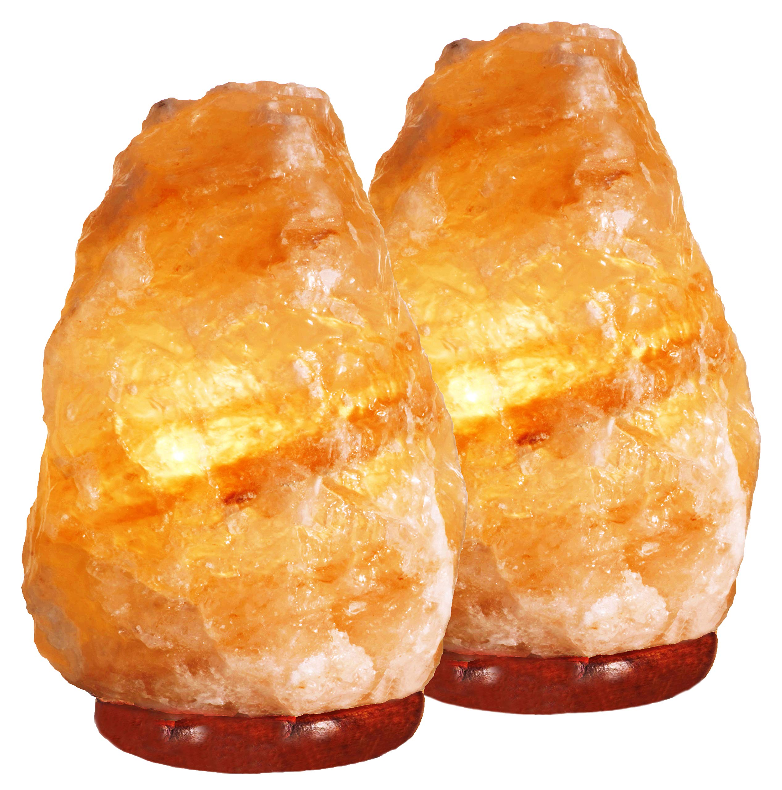 Indusclassic LN-02 Set Of 2 Natural Himalayan Crystal Rock Salt Lamp Ionizer Air Purifier 4~7 lbs/UL Listed Cord and Dimmer Control Switch, Exceptional Quality Packaging