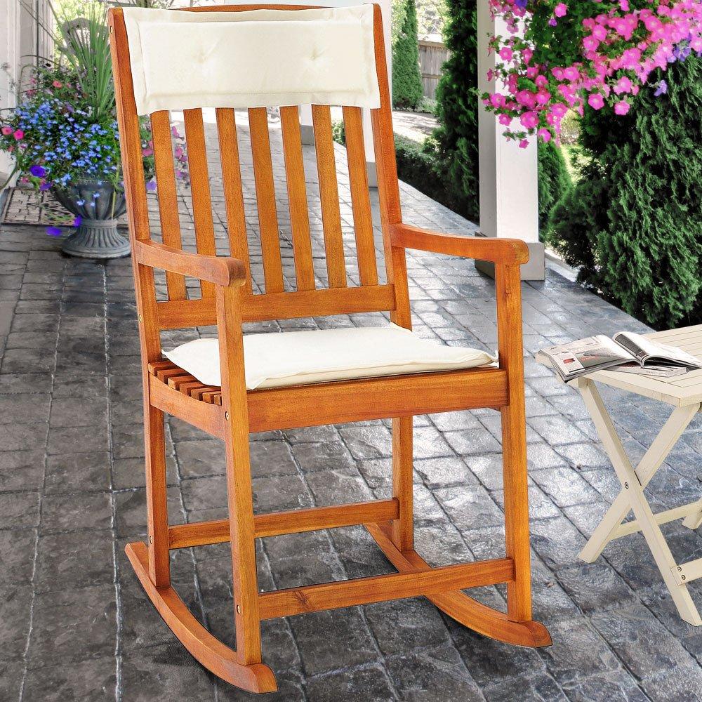 Schaukelstuhl kissen gartenstuhl hartholz holz liegestuhl for Gartenmobel liegestuhl
