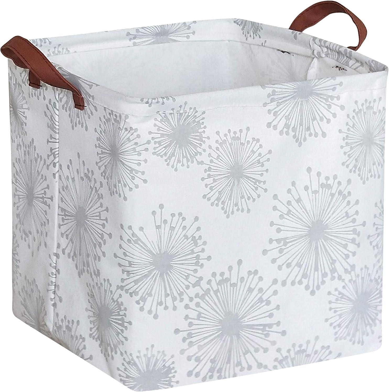 HIYAGON Square Storage Bins,Storage Baskets,Canvas Fabric Storage Boxes,Foldable Nursery Basket for Clothes,Books,Shelves Baskets,Gift Baskets,Home Organization,Room Decor(Dandelions)
