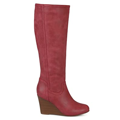 0205cf4a715 Womens Regular and Wide Calf Round Toe Faux Leather Mid-Calf Wedge Boots