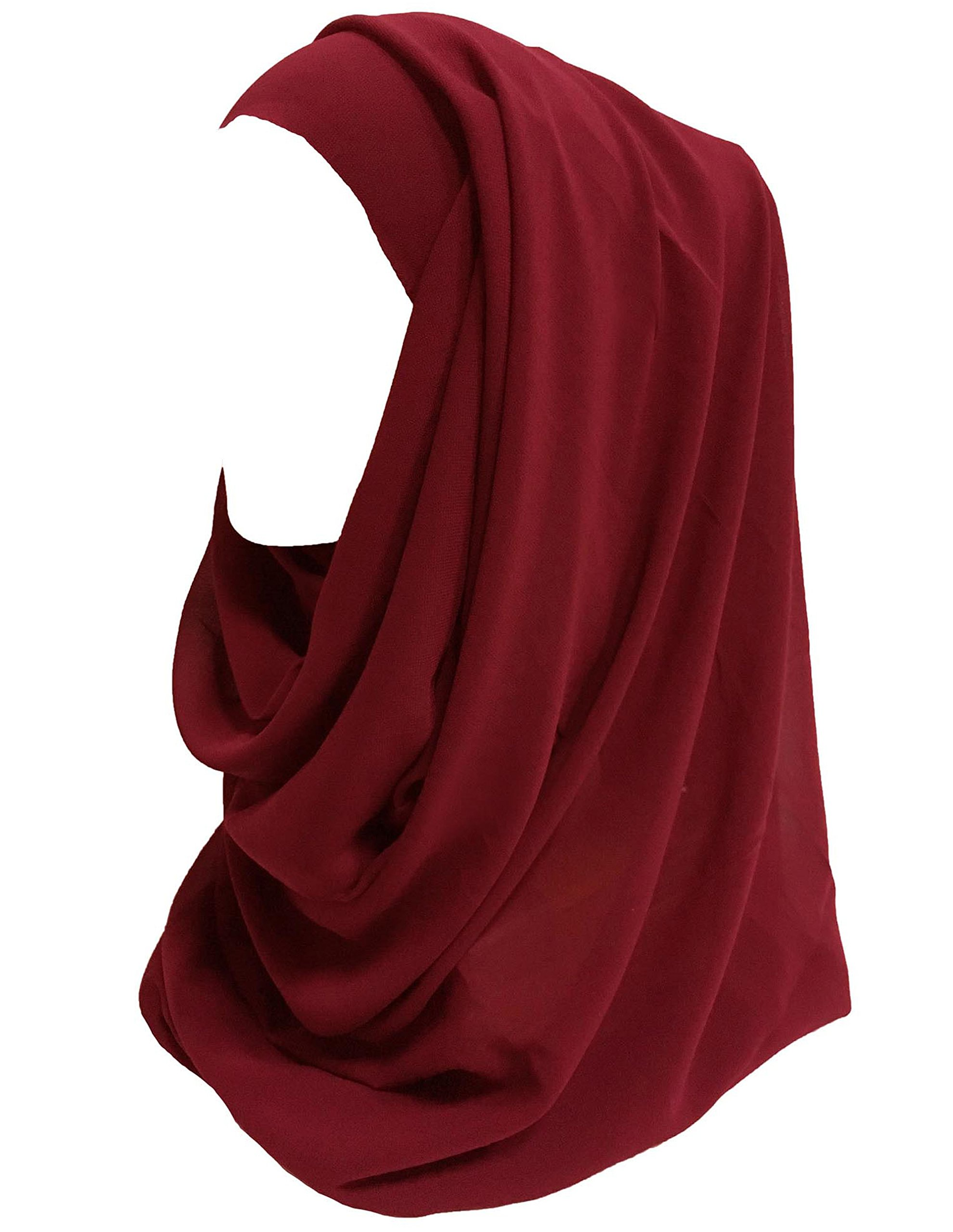 Lina & Lily Solid Color Thick Chiffon Muslim Hijab Long Scarf (Dark Red)