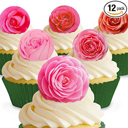 Fondant Blossom Cupcake and Cake Topper Edible Flowers for Cakes-Set of 12 Tiny Fondant Flowers