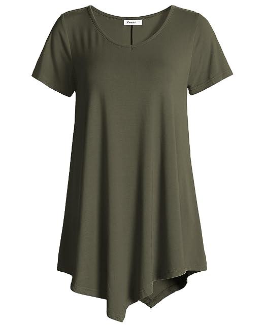 9d2ece6c Esenchel Women's V-Neck Swing Shirt Casual Tunic Top for Leggings M Army  Green