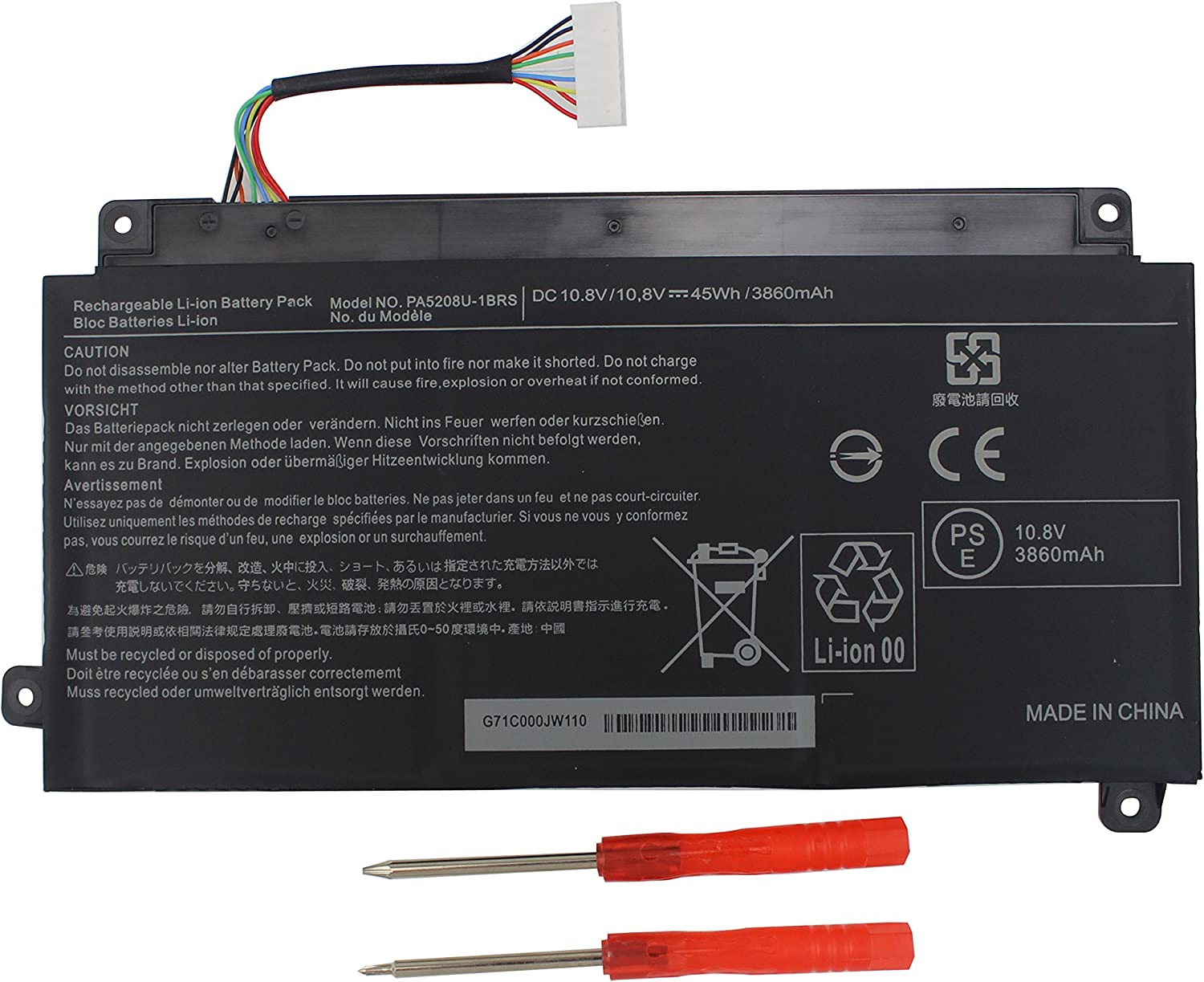 Gomarty New PA5208U-1BRS Battery for Toshiba Satellite E45W P55W E45w-C4200x P55w-c5204 P55w-c5208;Chromebook CB30 CB35 CB35-B3330 CB35-B3340 CB35-C3300 CB35-C3350 CB30-B3123 P000619700 P000645710