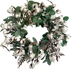 Huashen Cotton Farmhouse Wreath with Eucalyptus Leaves on Grapevine Base for Front Door 24 inch